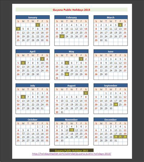 Guyana Calendã 2018 Guyana Holidays 2015 Holidays Tracker