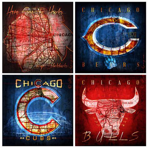chicago cubs fan map blackhawks bears bulls cubs maps 4 pack chicago by retroleague