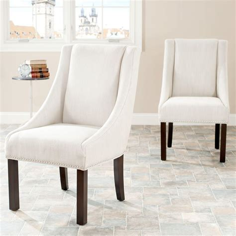linen dining room chairs safavieh morris beige linen dining chair set of 2