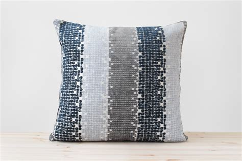 blue and gray pillows navy blue gray geometric pillow navy and white stripe cushion