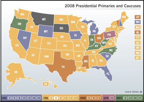 nau cus map 2008 presidential primary calendar political maps