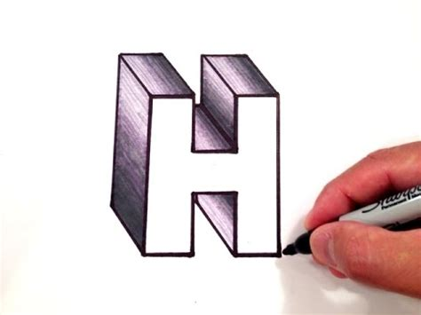 Letter H Drawing by How To Draw The Letter H In 3d