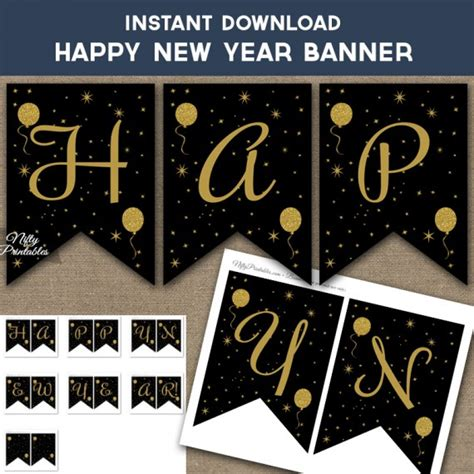 printable happy new year banner 2016 the gallery for gt gold happy new year banner 2014