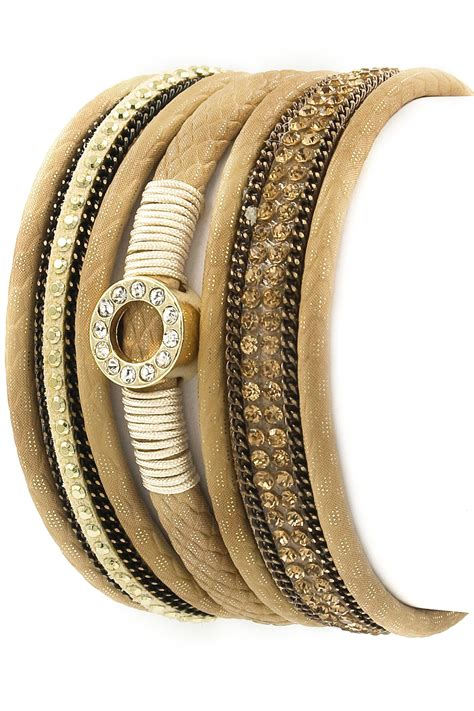 Rhinestone Faux Leather Bracelet faux leather rhinestone ring bracelet bracelets