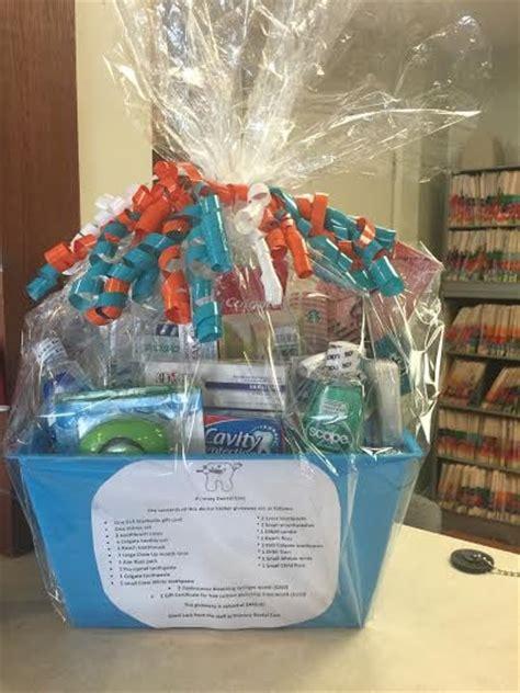 primary dental office  raffling  beautiful gift basket