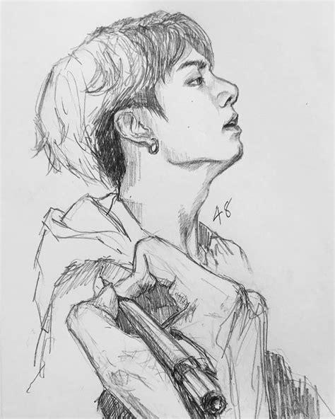 Kpop Sketches by Pin By Selena On Bts Fanart Bts Drawings Bts Fan