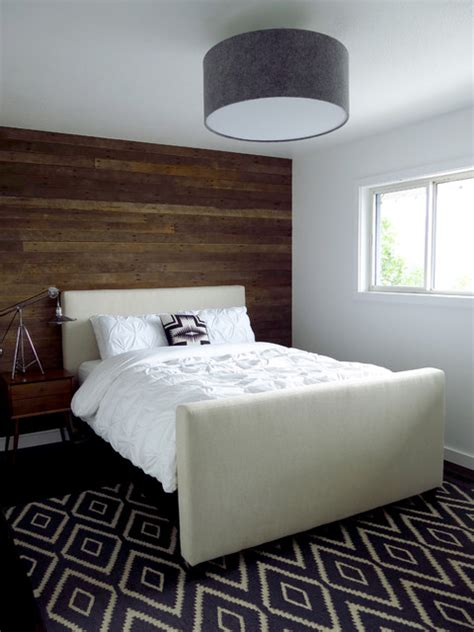 Narrow Home Design Portland by Reclaimed Wood Accent Wall Contemporary Bedroom