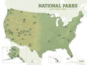 Map National Parks Usa by Us National Parks Map 18x24 Poster