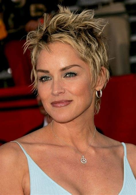 sharon stone new haircut trendy tousled short punky pixie cut for women sharon