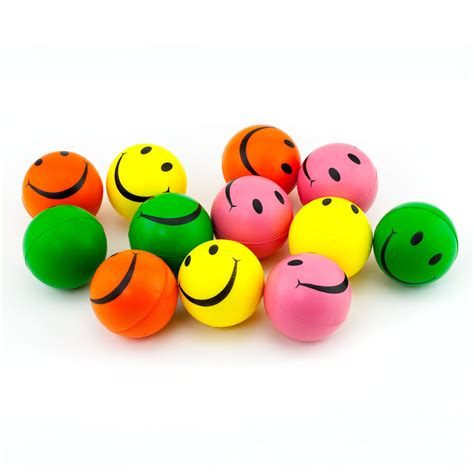 smile face stress squeeze balls assorted colors