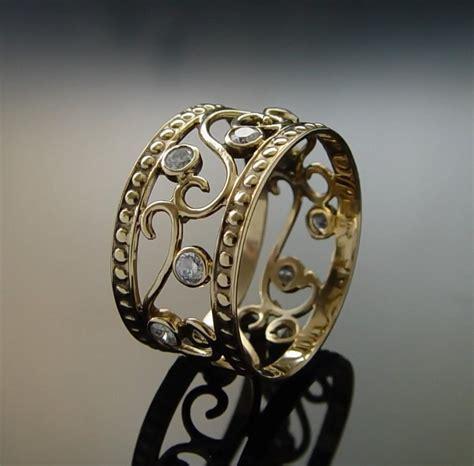 Handmade Band Rings - ornament diamonds gold ring handmade delicate ring 14k