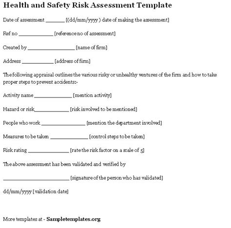 safety assessment template health and safety risk assessment exle of health and