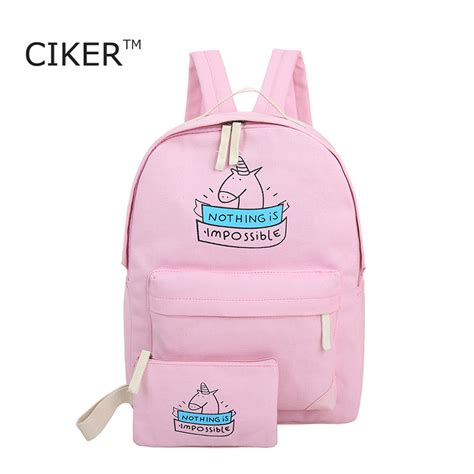 Backpack Fashion Set Banana ciker canvas backpack fashion travel bags printing backpacks 2pcs set new style