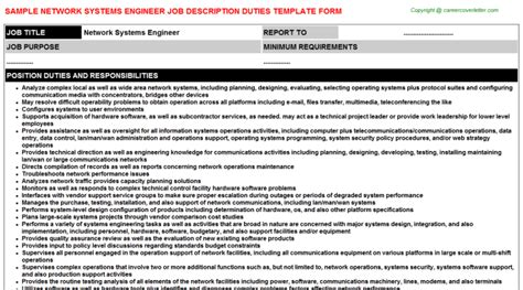 System Engineer Duties by Network Systems Engineer Title Docs