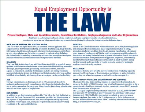 Printable Equal Employment Opportunity Poster | employment discrimination law in the united states