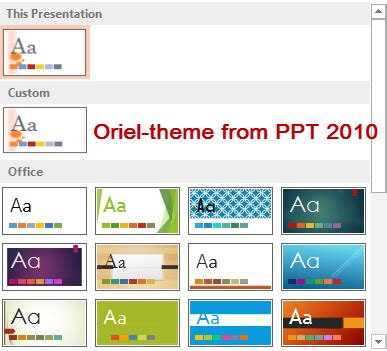 custom themes powerpoint 2010 luc s powerpoint blog use a ppt 2010 theme in ppt 2013
