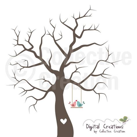 wedding fingerprint tree silhouette digital by