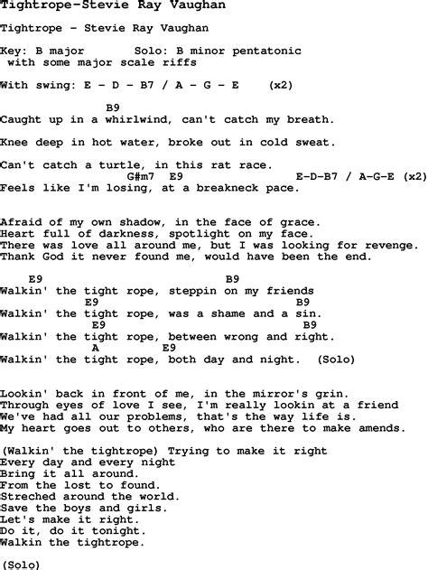 blues guitar lesson  tightrope stevie ray vaughan  chords tabs  lyrics