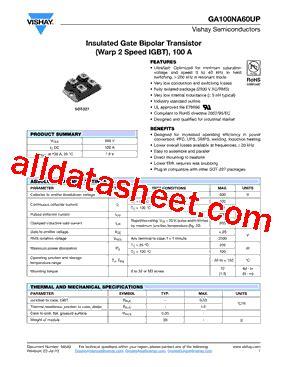 transistor datasheet vishay ga100na60up datasheet pdf vishay siliconix