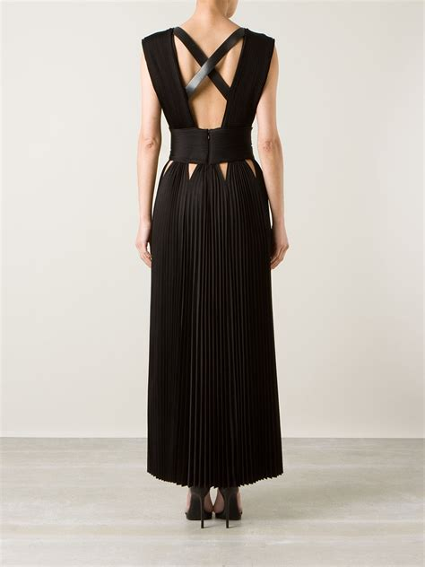 Givenchy Maxi Dress lyst givenchy pleated maxi dress in black