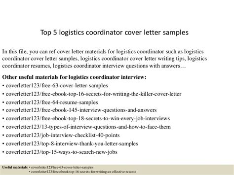 cover letter for logistics top 5 logistics coordinator cover letter sles