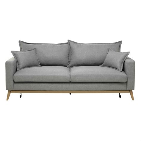 3 Seater Fabric Sofa Bed In Light Grey Duke Maisons Du Monde Grey Sofa Bed