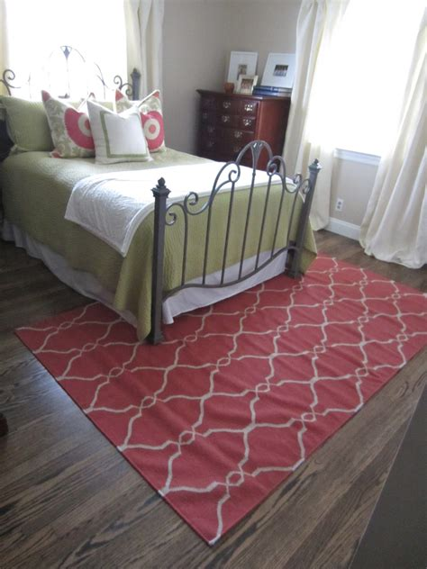how to place a rug under a bed just a touch of gray guest bedroom rug