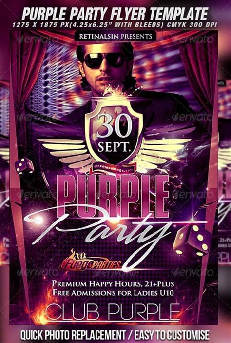 flyer templates graphicriver purple party flyer template