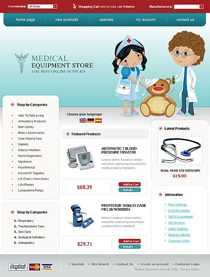readymade templates for asp net template 17042 medical equipment oscommerce template
