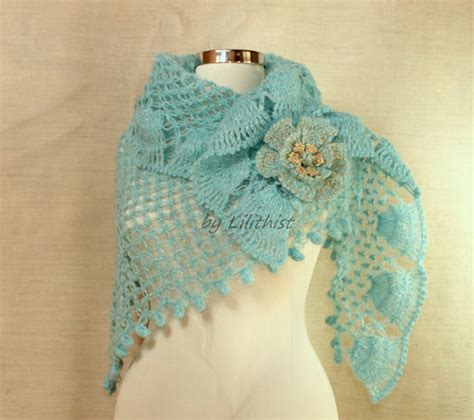 Pashmina Motif Blue Coral coral blue crochet shawl wedding shawl bridal shrug shawl