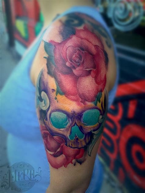 watercolor tattoos in chicago mero watercolor influenced roses and skull watercolor