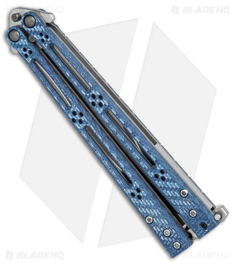 hom design hom design basilisk r balisong butterfly knife blue twill