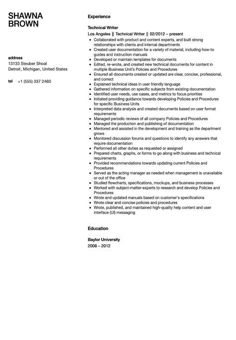 technical writer resume sle velvet jobs