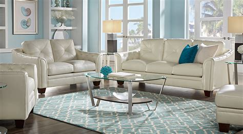 cindy crawford living room furniture cindy crawford home marcella ivory leather 3 pc living
