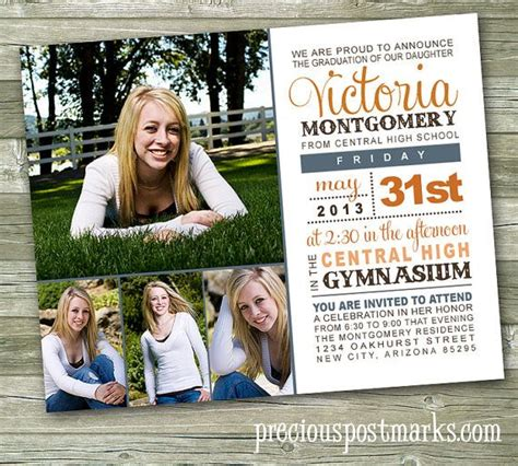 6x7 5 card template modern custom photo graduation announcement invitation