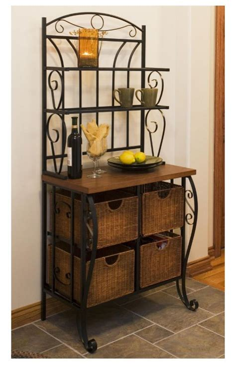iron wicker bakers rack home pantry kitchen furniture wicker iron kitchen hutch bakers rack shelf furniture