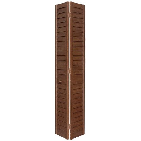 36 in x 80 in louver louver dark teak composite interior closet bi fold door 7203680300 the