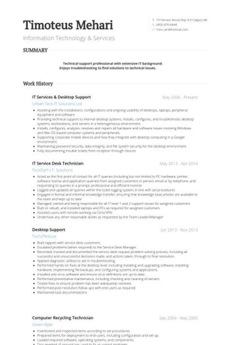 Desktop Support Analyst Resume by Desktop Support Resume Sles Visualcv Resume Sles Database