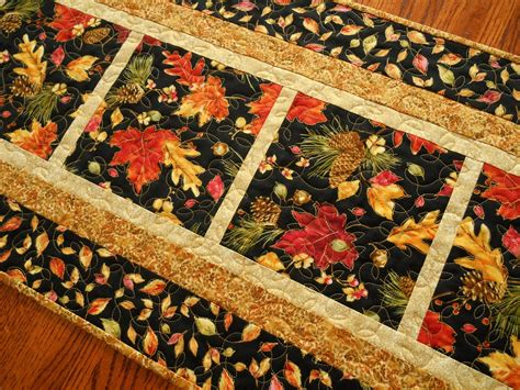 fall table runner quilted autumn table runner turning leaves