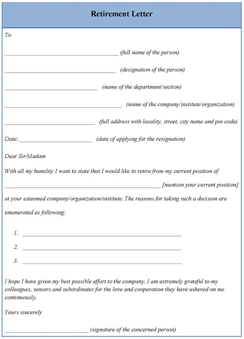 letter template for retirement format of retirement