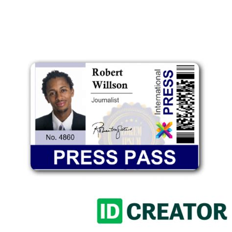 the press interactive card templates newspaper press pass id from idcreator
