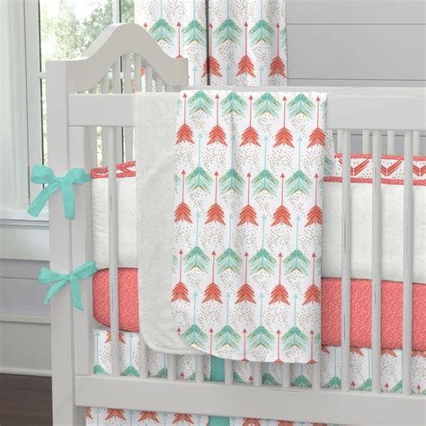 teal nursery bedding coral and teal arrow crib blanket carousel designs