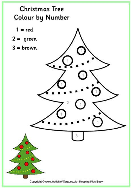 christmas tree colour by numbers kerst lesidee 235 n