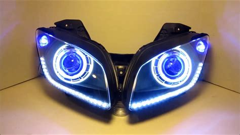 Led Projector R15 2008 2013 yamaha r15 hid projector headlights bixenon dual halo by bkmoto 1