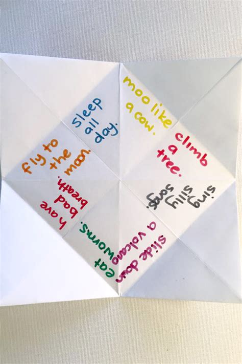 what to write in a paper chatterbox what to write in a paper fortune teller fortune teller