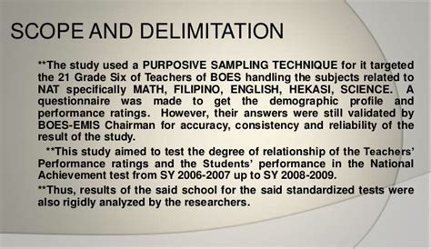 exle of scope and delimitation in research paper the national achievement test of grade six in relation to