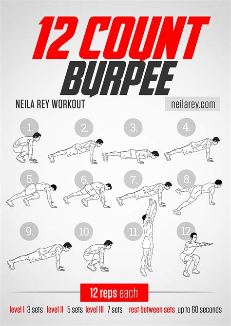 12 count burpee workout works chest triceps lower abs lower back glutes quads exercise