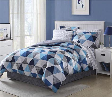 dark blue comforters light dark blue white grey geometric 8 piece comforter