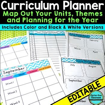 Curriculum Planning Calendar Templates Editable Maps Pacing Long Range Plans Curriculum Planning Template