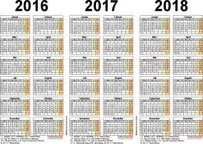 Excel Kalender 2016 Bis 2018 Dreijahreskalender 2016 2017 2018 Als Excel Vorlagen Zum